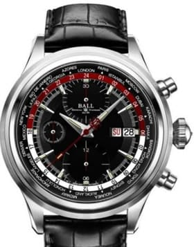 Ball Trainmaster Worldtime Chronograph Black and Red