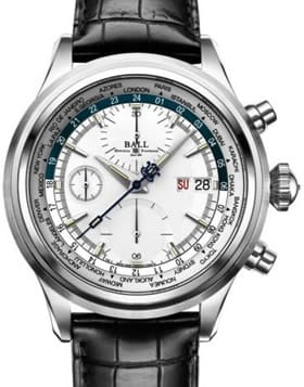 Ball Trainmaster Worldtime Chronograph Silver Blue