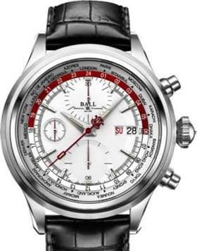 Ball Trainmaster Worldtime Chronograph Silver Red CM2052D-LL1J-SLRD
