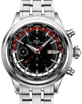 Ball Trainmaster Worldtime Chronograph Black and Red on Bracelet