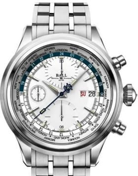 Ball Trainmaster Worldtime Chronograph Silver Blue on Bracelet