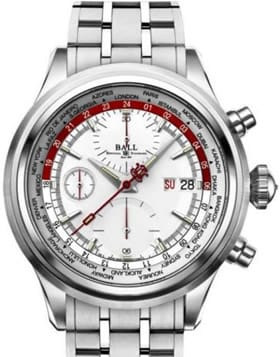 Ball Trainmaster Worldtime Chronograph Silver Red on Bracelet